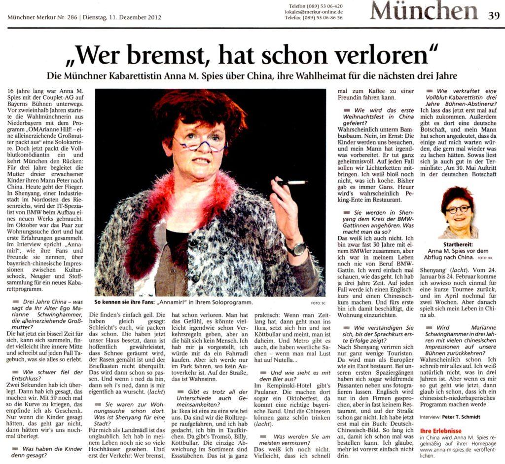 """""""Wer bremst, hat schon verloren"""" im Münchner Merkur am 11.12.2012 / Interview: Peter T. Schmidt"""